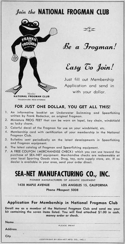 Skin Diving History - Sea Net No 2 - Mfg & Retailers